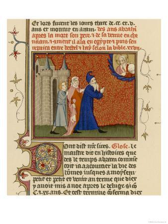 Page from a French Bible History Showing God Telling Abraham What He is to Do