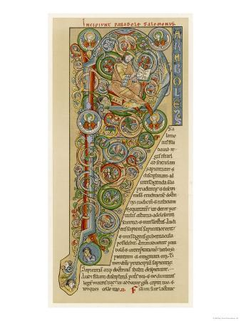 "Illuminated Letter ""P"" Showing King Solomon Writing His ""Proverbs"", from a German Bible"