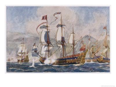 English Warships Under Admiral Blake in Action Against the French at Santa Cruz