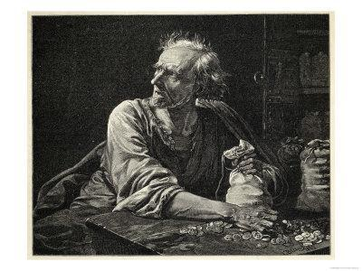 Fearful Miser Guards His Money