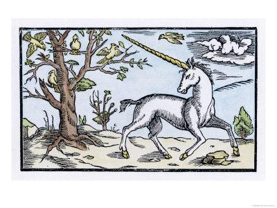 Unicorn Near a Tree with Birds in the Branches