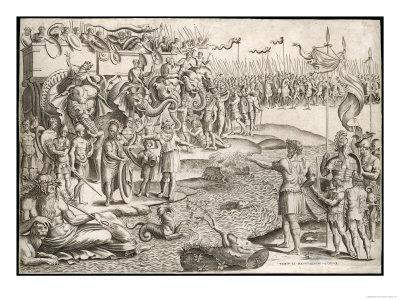Second Punic War: a Rather Allegorical Depiction of Hannibal with His Army and His Elephants