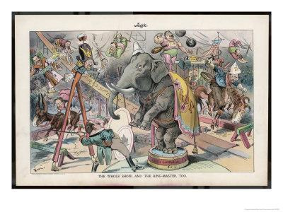 Theodore Roosevelt 26th American President Depicted as a Circus Ringmaster