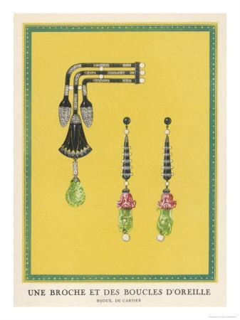 Egyptian-Style Jewellery by Cartier, a Brooch and Earrings