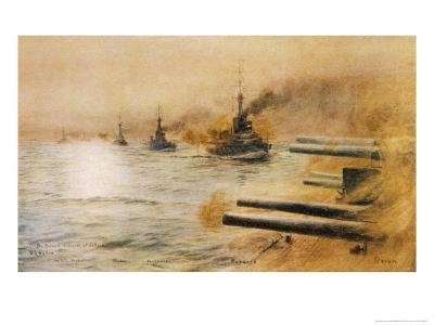 The British Second Division of Battleships Fire on the Germans at the Battle of Jutland