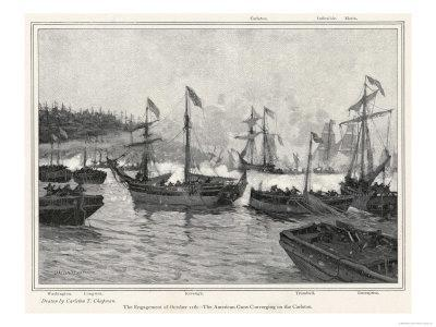 The Naval Engagement on Lake Champlain Between Gunboats of the British and American Colonial Forces