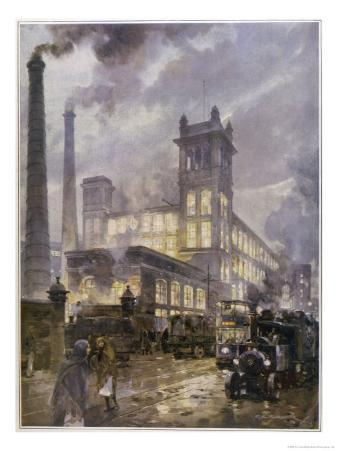 Traffic Passing the Smoking Chimneys of Horrockses Crewdson and Co