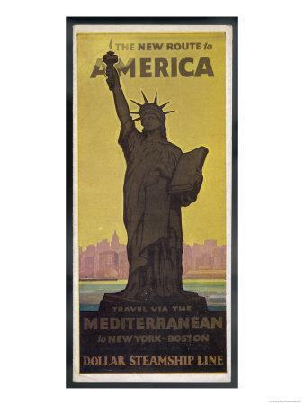 The New Route to America, Dollar Steamship Line Via the Mediterranean to New York and Boston