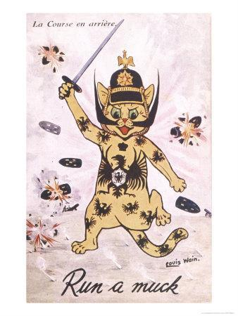 Anti-German Germany Represented as a Rampaging Feline Runs Wild Amidst a Barrage of Shell Fire
