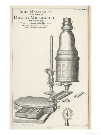 John Marshall's New Invented Double Microscope for Viewing the Circulation of the Blood