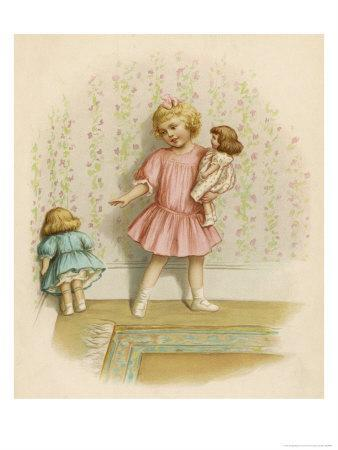 Small Girl Makes One of Her Dolls Stand in the Corner as a Punishment for Misbehaving