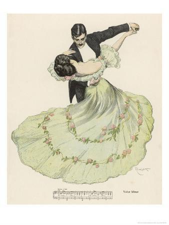 Valse Bleue, Her Wide Skirt Swirls Gracefully as Her Partner Leads Her Through a Passionate Waltz