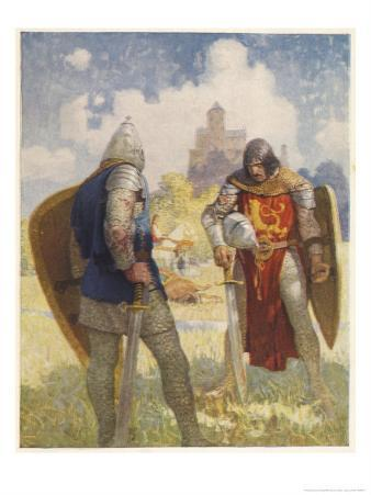 Sir Lancelot Challenges Sir Tarquin Who Has Imprisoned King Arthur's Knights