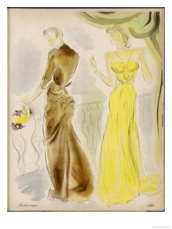 Evening Gowns by Balenciaga and Alix