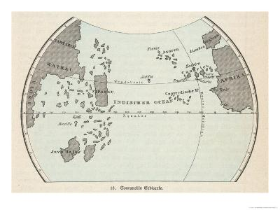 Map of the Atlantic Ocean According to Toscanelli Before the Discovery of America