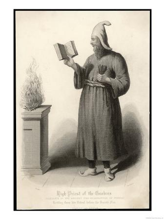 High Priest of the Zoroastrianism Religion Standing Before a Fire Reading out a Ritual Text
