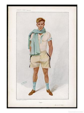 Douglas Stuart Dressed for Sport in Short Sleeved Vest with Pale Blue Trim and Flannel Shorts