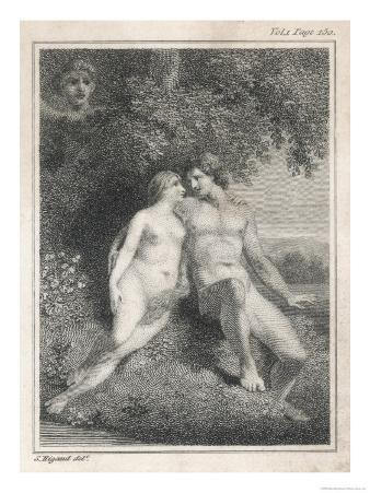 Adam and Eve Watched by an Angel