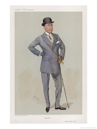 Sporting Major Eustace Loder in a Double-Breasted Pin- Stripe Suit with Trousers That Taper