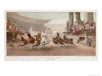 Two Charioteers Race Neck-And- Neck with Each Other in a Roman Circus