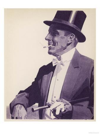 An Elegant Gentleman in Top Hat Smoking a Cigarette