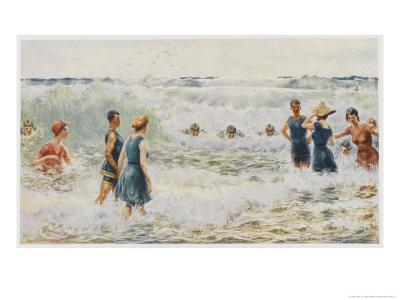 Swimmers Enjoying the Breakers on an Australian Beach