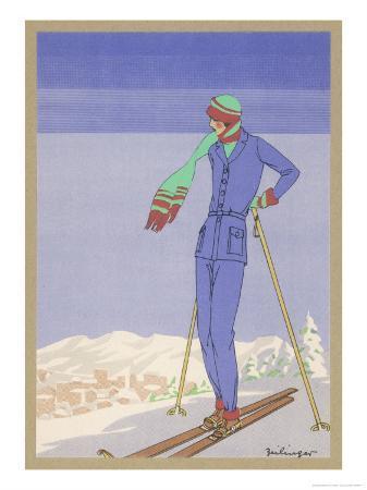She Pauses Before Embarking on the Piste in Her Elegant Ski Costume