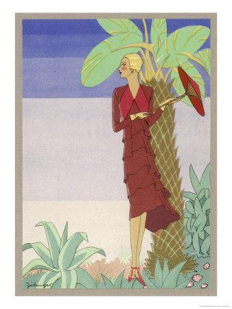 Surrounded by Exotic Vegetation She Stands Primly with Her Parasol
