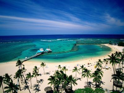 Waikiki Beach Fronting the Hilton Hawaiian Village Hotel, Honolulu, U.S.A.