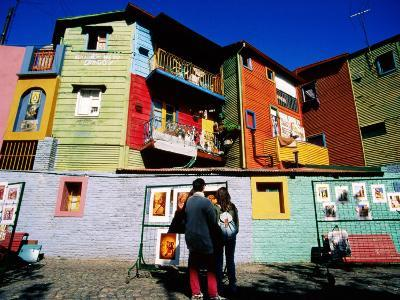 Street Market and Colourful Buildings, La Boca, Buenos Aires, Argentina