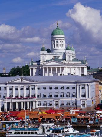 Stalls on Waterfront in Market Square, with Lutheran Cathedral in Background, Helsinki, Finland