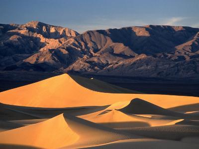 Sand Dunes and Mountain Range, Death Valley National Park, California, USA