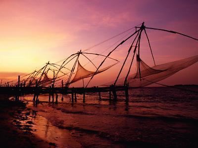 Traditional Fishing Nets at Sunset, Kochi, Kerala, India