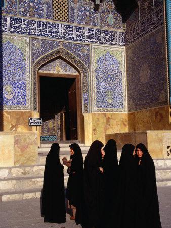 Women Wearing Full Chador Outside the Sheik Lotfollah Mosque, Esfahan, Iran