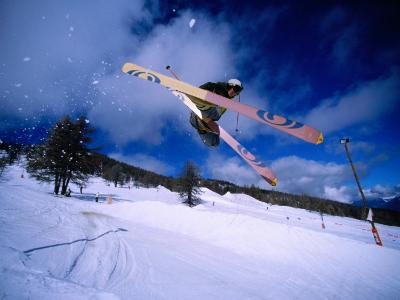 Skier Jumping in Half Pipe, Risoul, Haute-Normandy, France