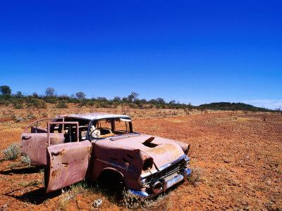 Abandoned Old Holden Car on Mereenie Loop Road, Australia