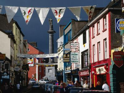 Street Decorated with Buntings and Signs, Ennis, Ireland