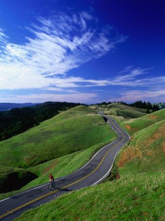 Bicycle Rider on Long and Winding Road, Mount Tamalpais, California, USA