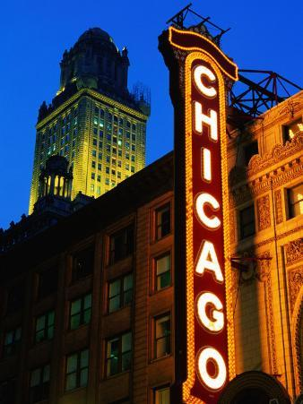 Chicago Theatre Facade and Illuminated Sign, Chicago, United States of America