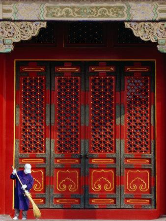 Cleaner Sweeps Steps Inside the Forbidden City, Beijing, China,