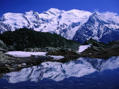Reflection of Mont Blanc in Mountain Lake, Chamonix Valley, Rhone-Alpes, France