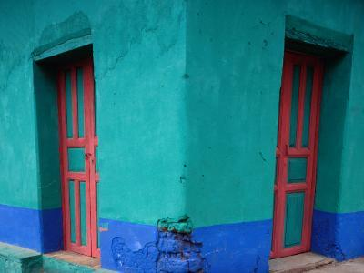 Brightly Painted Corner House in Chinique, Quiche, Guatemala