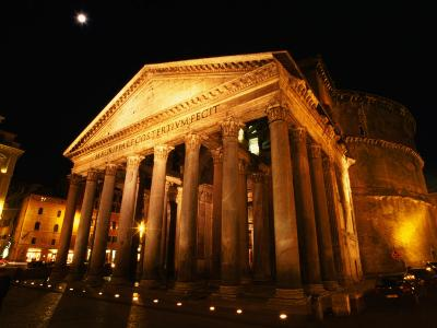 Full Moon Over Pantheon and Portico, Rome, Italy