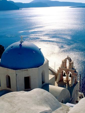 Overhead of Orthodox Church with Ocean Beyond, Oia, Greece