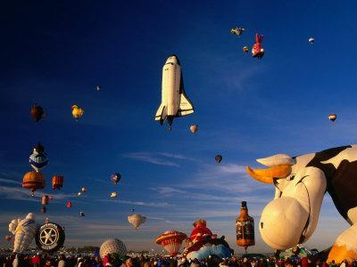 Space Shuttle and Cow Shaped Balloons at Balloon Fiesta, Albuquerque, New Mexico, USA
