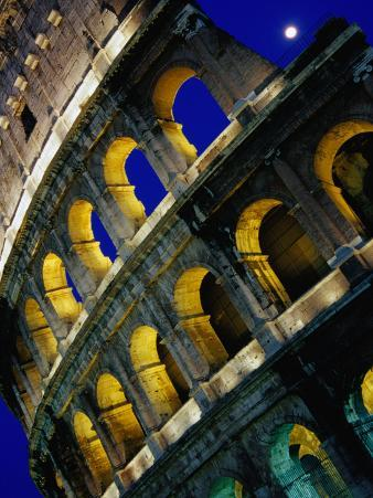 The Colosseum Lit Up at Night, Rome, Lazio, Italy