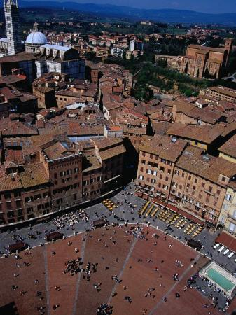 Aerial View of Square from Top of Torre Del Mangia Siena, Tuscany, Italy