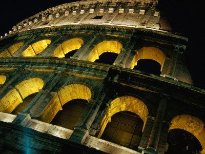 Colosseum Illuminated at Night Rome, Italy
