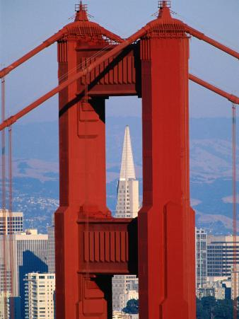 Golden Gate Bridge Tower and Transamerica Building, San Francisco, California, USA