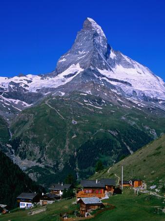 Matterhorn Towering Above Hamlet of Findeln, Valais, Switzerland